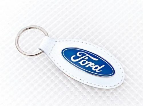 Ford White Leather Keyring Officially Licensed